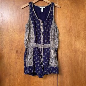 Navy and tan romper